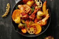 鶏と根菜のロースト、マーマレード風味