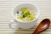 白菜とひらたけのもち麦入り豆乳スープ